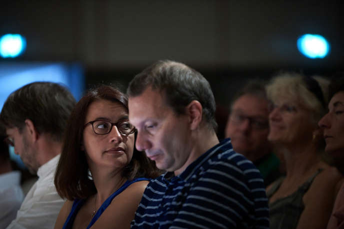 Cécile Duflot et David Cormand aux Journées d'été d'Europe Ecologie Les Verts à Lorient le 25 août .