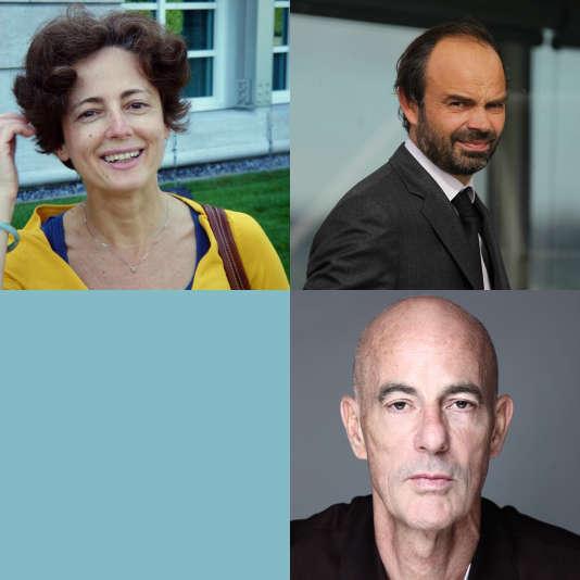 En haut à gauche Paola Vigano, en haut à droiteEdouard Philippe, en bas Jacques Herzog.
