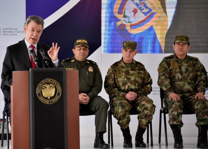 Le président colombien Juan Manuel Santos lors d'un discours à Bogota le 29 août.