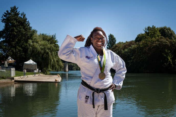 Emilie Andéol, championne olympique de judo, mercredi 24 août, à Champigny-sur-Marne.