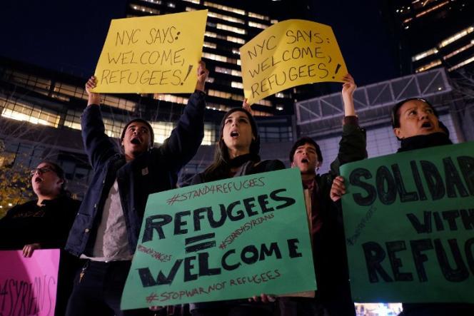 Manifestation pour l'accueil de réfugiés syriens et irakiens à New York, le 10 décembre 2015.