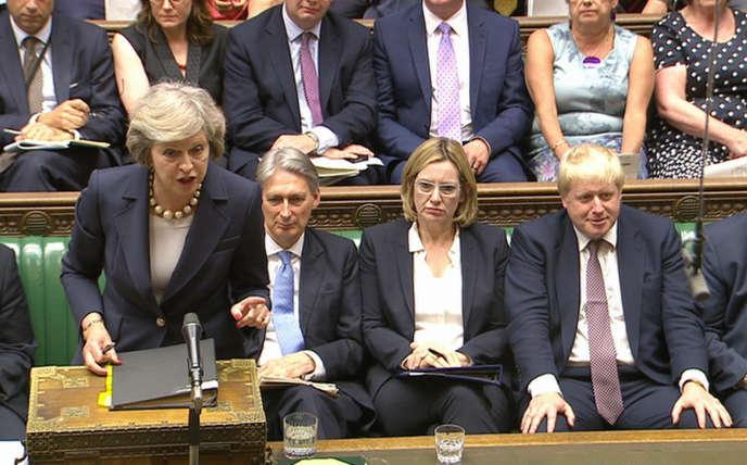 La première ministre britannique, Theresa May. à la Chambre des communes, le 20 juillet