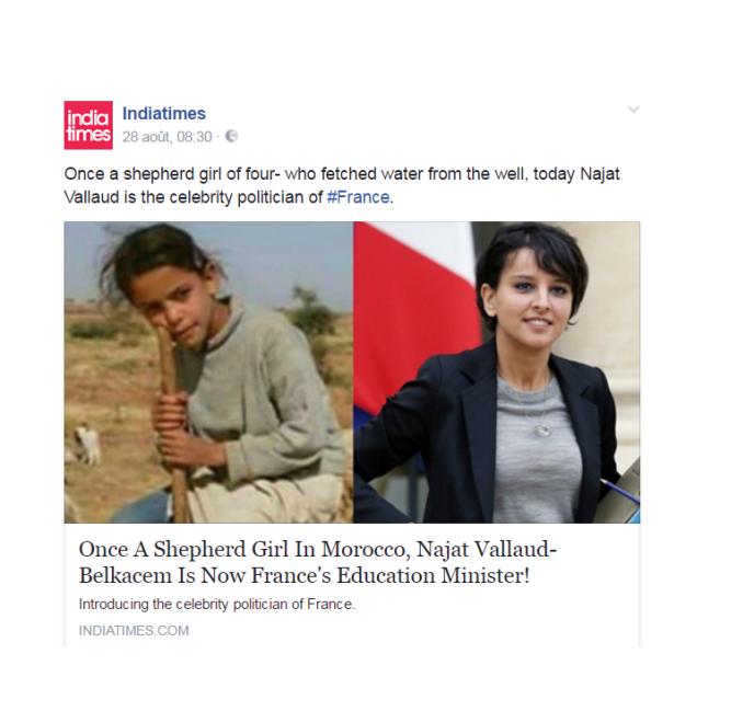 Capture d'écran de l'article du site India Times sur Najat Vallaud-Belkacem.