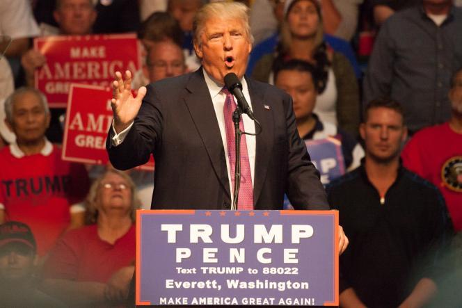 Donald Trump, lors d'un meeting de campagne, à Everett (Washington), le 30 août.