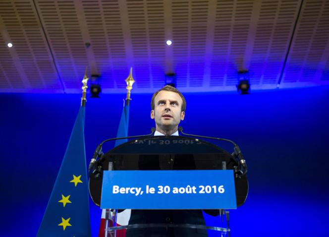 Emmanuel Macron lors de son allocution au ministère de l'économie, mardi 30 août.