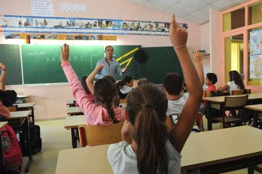 Rentrée des classes en septembre 2016, à l'école primaire Pierre-Levée, à La Jarne, près de LaRochelle (Charente-Maritime).
