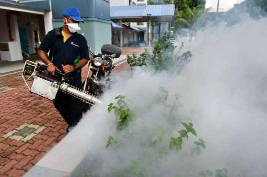 Dans une zone résidentielle de Singapour, où l'on essaie de traiter l'avancée du virus Zika par fumigation.