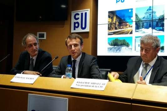 Emmanuel Macron à l'université d'été de la CPU (Conférence des présidents d'université), le 31 août.