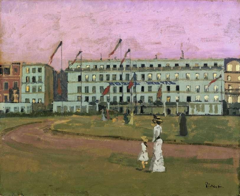 Cette toile– aux tonalités irréelles– dépeint l'Hôtel Royal au crépuscule, installé sur le front de mer.