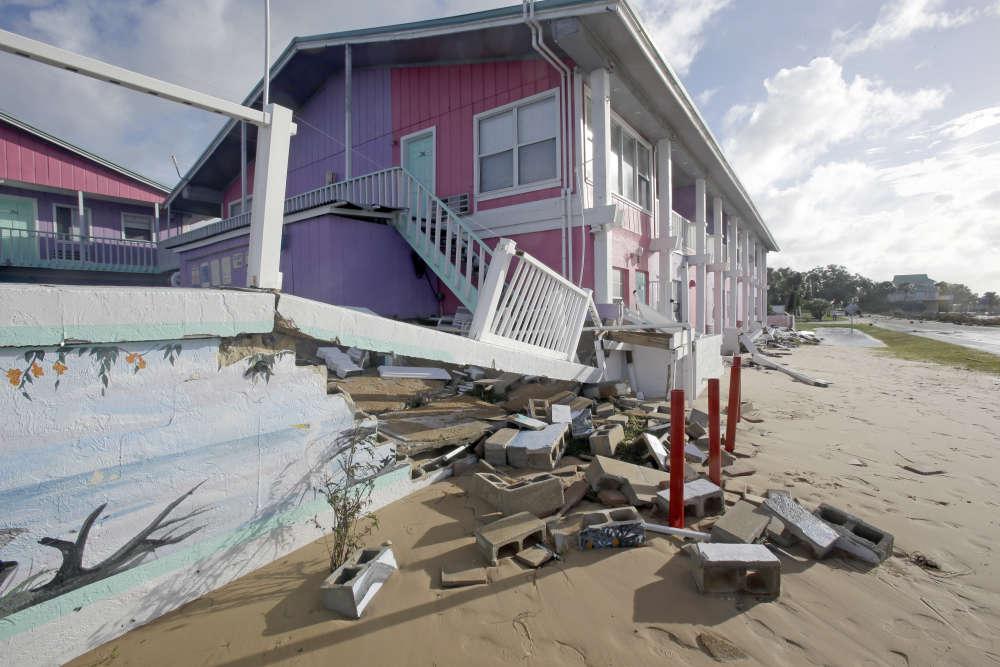A Cedar Key, en Floride, après le passage de la tempête Hermine le 2 septembre.