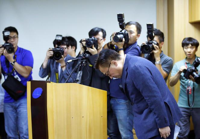 Lors d'une conférence de presse à Séoul, le 2 septembre, Samsung annonce le rappel des Galaxy Note 7.
