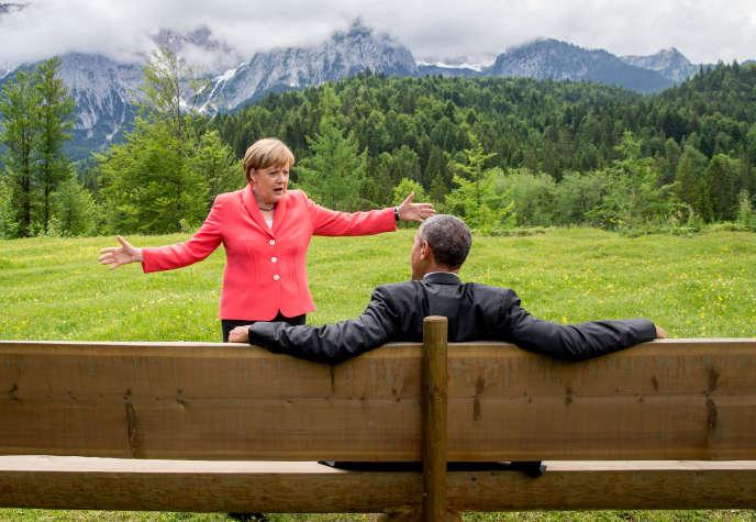 Angela Merkel et Barack Obama, lors du sommet du G7 à Elmau (sud de l'Allemagne), en juin 2015.