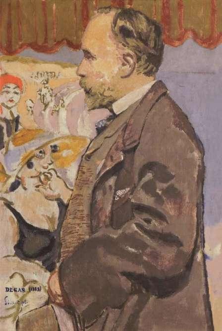 Ce portrait témoigne de l'amitié qui lia Walter Sickert à Edgar Degas, scellée au cours de l'été 1885. A la fin de sa carrière, sa palette s'éclaircit, ses couleurs deviennent plus vives et acidulées.