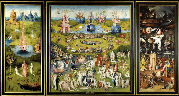 «Le Jardin des délices», de Jérôme Bosch(v. 1450-1516), huile sur bois, 185,8 x 172,5 cm (panneau central) ; 185,8 x 76,5 cm (panneaux de droite et de gauche), exposé au Musée du Prado à Madrid.