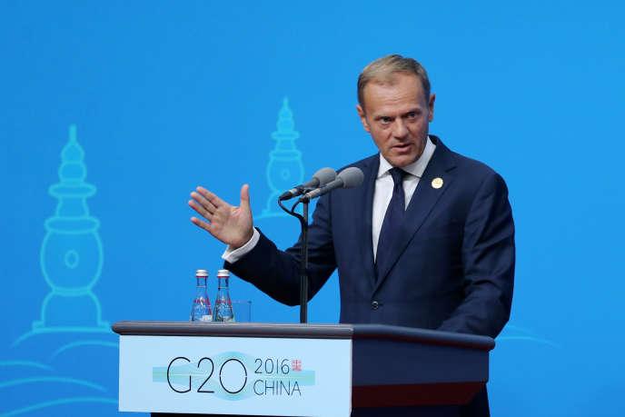 Le président du Conseil européen Donald Tusk en marge du G20 à Hangzhou, en Chine.