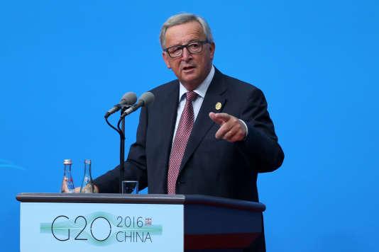 Le président de la Commission européenne Jean-Claude Junckerlors d'une conférence de presse à Hangzhou, en Chine, où s'ouvre le sommet du G20.