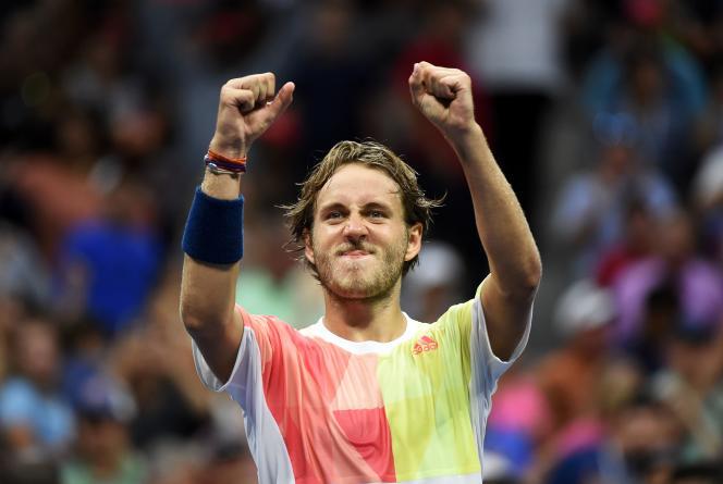 Lucas Pouille a laissé exploser sa joie après sa victoire sur Rafael Nadal, dimanche4septembre, à New York.