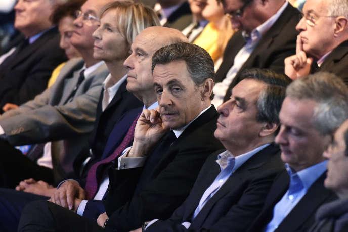 Les candidats à la primaire de la droite Alain Juppé, Nicolas Sarkozy, François Fillon et Bruno Le Maire en septembre 2015.