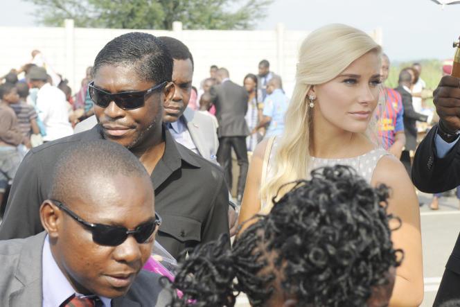 Teodorin Obiang Nguema avec sa compagne danoise, Christina D. Mikkelsen, le 23 décembre 2014 à Malabo.