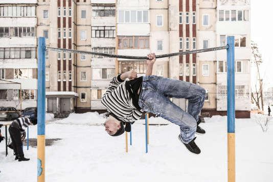 A Slavoutytch, en février 2012, une aire de jeux dans l'un des quartiers de la ville.