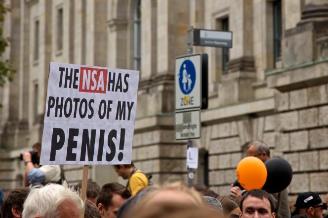 Lors d'une manifestation contre la surveillance à Berlin, le 30 août 2014.