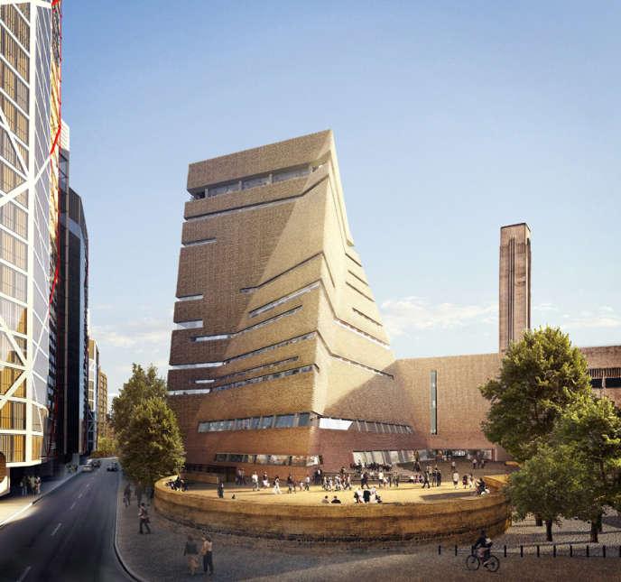 La« Switch House» de la Tate Modern à Londres est en vis-à-vis direct avec l'ensemble résidentiel Neo Bankside (à gauche).