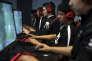 L'équipe officielle de « gaming » de l'université Robert-Morris de Chicago à l'entraînement, en octobre 2014.