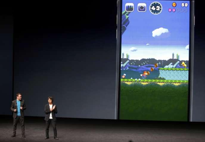 Shigeru Miyamoto, le créateur de Super Mario, lors de la conférence de presse d'Apple, le 7 septembre, à San Francisco.