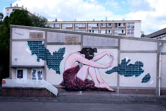 La fresque au pochoir du duo Jana & JS à Rouen.