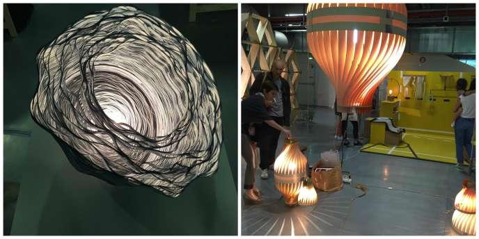 Au salon Now ! Le Off, la lampe sculpture en rubans de papier teints de Lison Barbier et laplateforme de jeunes talents et marques émergentes.