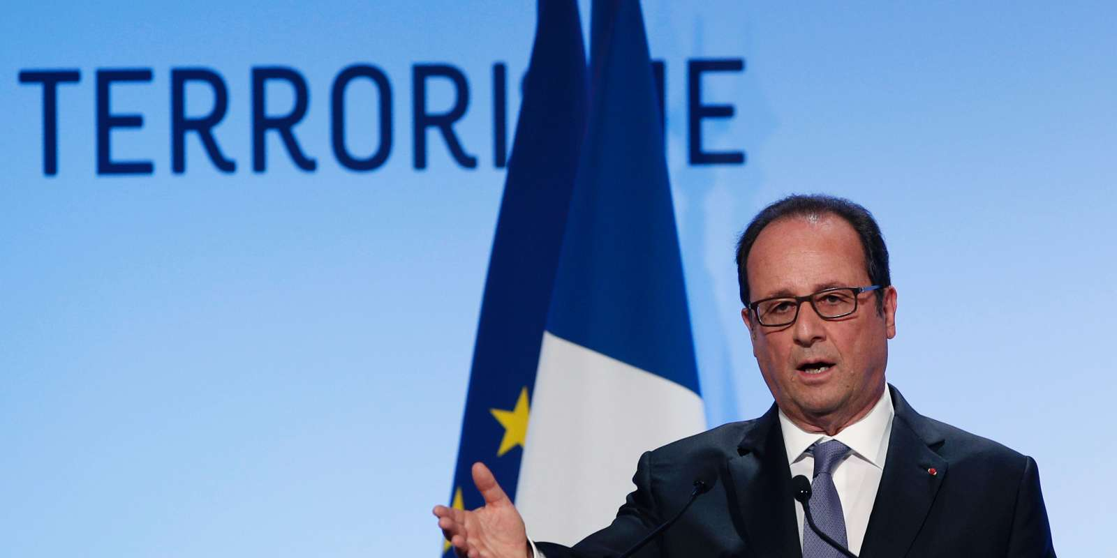 French President Francois Hollande delivers a speech about democracy and terrorism on September 8, 2016 in Paris. President Francois Hollande insisted on September 8, 2016, that France's strict laws separating church and state did not mean the country's large Muslim minority could not practise their religion. In a speech on terrorism and democracy coming hot on the heels of a debate on the banning of the Islamic burkini swimsuit, Hollande said: