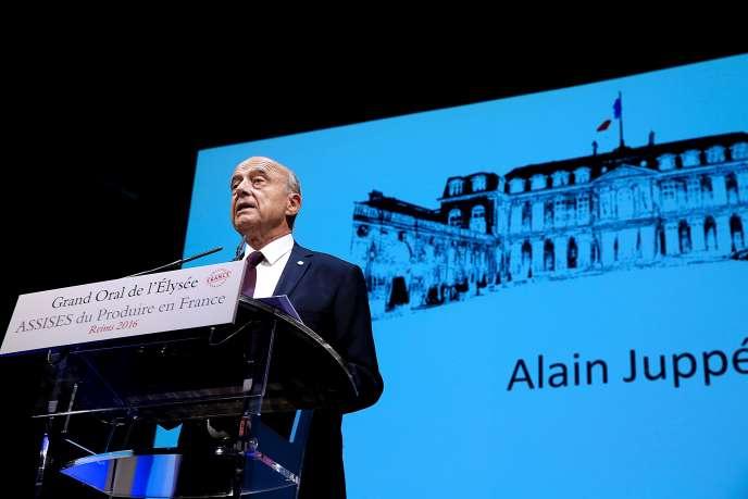 Alain Juppé, candidat à la primaire de la droite, aux Assises du produire en France, le 9 septembre.