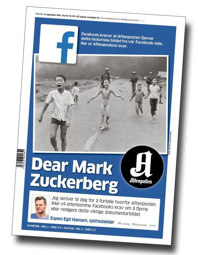 La «une» du journal norvégien «Aftenposten» accusant Facebook de censure.