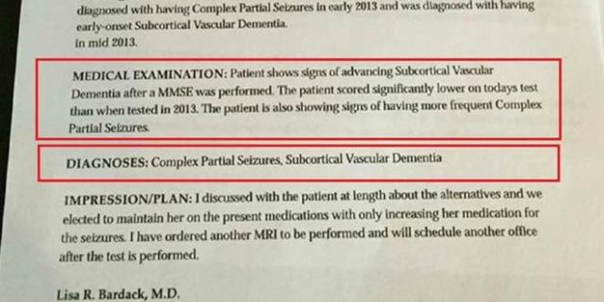 Capture d'écran du pseudo document médical.