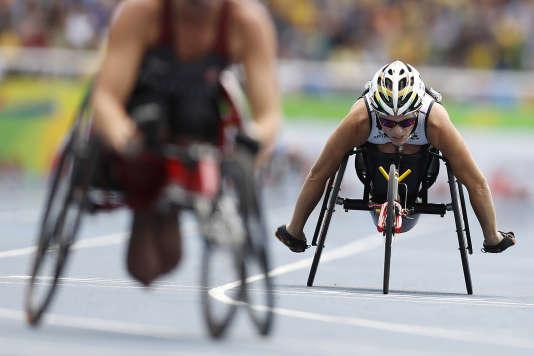 Lors de la coursedu 400 m aux Jeux paralympiques de Rio, le 10 septembre.