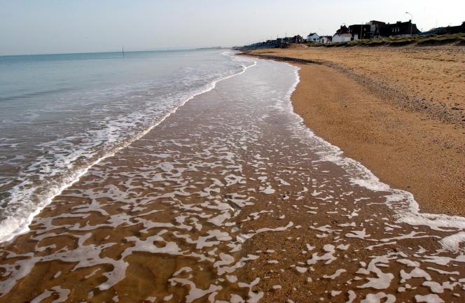 Photo de la plage de Colleville-Montgomery, où les 177 Français du 4e commando franco-britannique de la 1re brigade de lord Lovat, sous l'ordre du commandant Philippe Kieffer, débarquèrent à l'aube du 6 juin 1944.