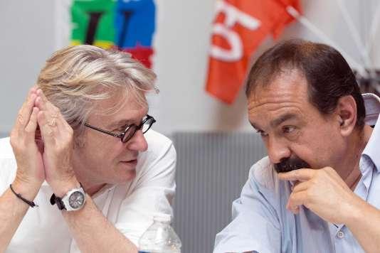 Jean-Claude Mailly (FO) etPhilippe Martinez (CGT), en juillet 2016.