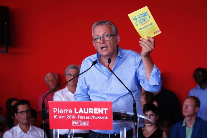 Discours du secrétaire national du Parti communiste français Pierre Laurent à la Fête de l'Humanite, à La Courneuve, près de Paris, le dimanche 10 septembre.