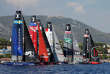 France Sailing - Louis Vuitton America's Cup World series - Toulon, France - 10/09/2016. Artemis Racing, Emirates Team New Zealand, Softbank Team Japan, Groupama Team France, Land Rover BAR and Oracle Team USA (L to R) take the start during Day One. REUTERS/Jean-Paul Pelissier