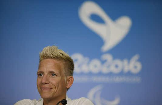 Marieke Vervoort lors d'une conférence de presse le 11 septembre.