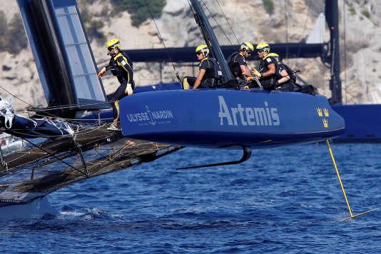 L'équipage Artemis Racing remporte la 8e étape de laLouis Vuitton America's Cup World Series, organisée à Toulon, le 11 septembre.