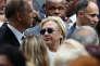Hillary Clinton lors de la cérémonie de commémoration des attentats de 2001, àNewYork, le 11septembre.