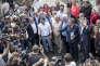 Benoit Hamon, Marie-Noëlle Lienemann, Gérard Filoche, Christian Paul et Arnaud Montebourg participent aux Journées d'été de La Rochelle, le 11 septembre.
