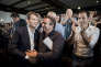 Arnaud Montebourg, Christian Paul et Benoit Hamon lors des Journées d'été de La Rochelle le 11 septembre 2016.