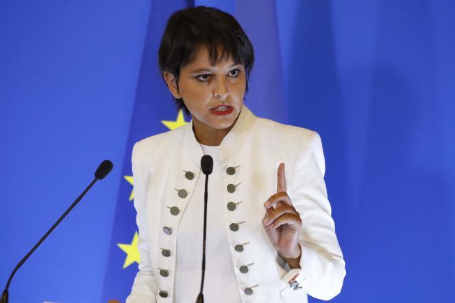 Najat Vallaud-Belkacem lors de sa conférence de presse de rentrée à Paris, le 29 août.