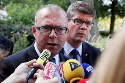 Damien Meslot, maire de Belfort, au siège de la société Alstom, à Saint-Ouen (Seine-Saint-Denis), le13septembre.