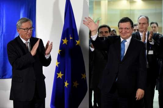 Jean-Claude Juncker et Jose Manuel Barroso, le 30octobre 2014.