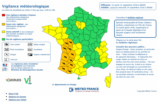 Les départements concernés sont : la Vienne, les Deux-Sèvres, la Charente-Maritime, la Charente, la Gironde, la Dordogne, le Lot-et-Garonne, les Landes, le Gers, les Pyrénées-Atlantiques et les Hautes-Pyrénées.