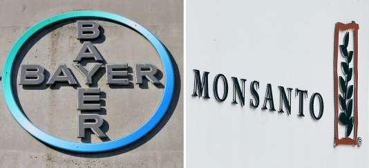 Montage associant le logo du géant pharmaceutique allemand Bayer et celui de la bête noire des écologistes, le roi des OGM Monsanto.
