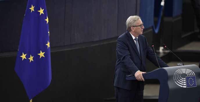 Le président de la Commission européenne, Jean-Claude Juncker, lors de son discours de l'Union devant le Parlement européen de Strasbourg, le 14 septembre 2016.